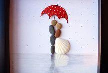 cuadros de piedra y conchas