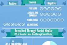 Facebook vs Linkedin / Infographics comparing the statistics of social media platforms Facebook and LinkedIn