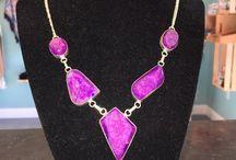 Purple Sparkle Quary Stone Necklace $20:00