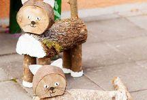 fából állatok, dekorációl