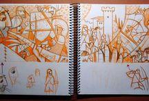 """Bocetos del ilustrando / Cuaderno de esbozos para las ilustraciones de """"La Corona de Aragón"""", un libro de historia para niños de Adela Rubio Calatayud publicado por Editorial Delsan en Octubre de 2013."""