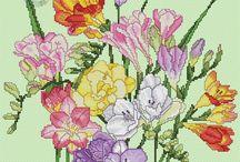 fiori punto croce