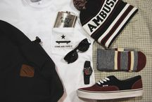 Mens Outfit Grids / Themed collections of apparel and accessories.