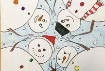Winter - art / tél, hóember, Mikulás, karácsony