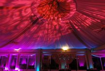 Catlin Garden Wedding Slate Hill NY / Adding interest and texture to the fabric lined ceiling at Catlin Gardens. Lighting Design by HourglassLighting.com