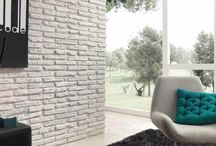 Brick painted in white and colors