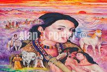 Indians / The Oil paintings from the English artist Alan John Porter. #alanjporterart #kompas #art #indians #painting #oil #nativeamericans #nature #horses