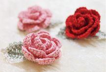 flores y hojas crochet