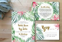 Invitation mariage tropical / Tropical flowers and leafs for exotic wedding invitation. More on: http://ouiausoleil.fr/un-avant-gout-de-soleil-dans-vos-invitations/
