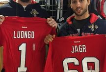 Get it in Gear! / #FlaPanthers Trocheck, Gudbranson and Bjugstad display some of the merchandise available at the Florida Panthers IceDen in Coral Springs.