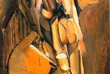 Cubisme / Le cubisme s'est développé de 1907 à 1914 à l'initiative des peintres Georges Braque et Pablo Picasso, suivis par Jean Metzinger, Albert Gleizes, Robert Delaunay, Henri Le Fauconnier et Fernand Léger. Héritant des recherches de Cézanne sur la création d'un espace pictural qui ne soit plus une simple imitation du réel, et des arts primitifs qui remettent en cause la tradition occidentale, le Cubisme bouleverse la notion de représentation dans l'art.