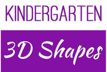 Kindergarten: 3D Shapes / This board contains resources for Texas TEKS: K.6B - identify three-dimensional solids, including cylinders, cones, spheres, and cubes, in the real world K.6C - identify two-dimensional components of three-dimensional objects K.6E - classify and sort a variety of regular and irregular two- and three-dimensional figures regardless of orientation or size
