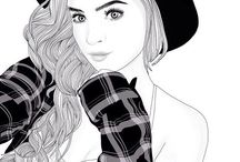Black and white draw girl