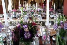 Rectangular / Banquet Style Table Settings - Flowers With Colour