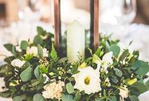 decor: table runner / Inspiration for table foliage arrangements.