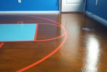 Plywood Floors - BasketBall Court / This board will contain all the images taken during the making of my daughter's homemade basketball court in her bedroom.  We started with standard, builder's grade plywood and went from there!  Want to see how we did it all?  Visit our YouTube Channel or follow along on our blog!  www.dreamhomeimprovement.us