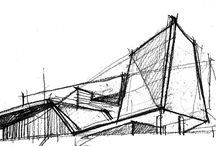 A.Architectural Sketch/Architectural stain work / Preliminary studies for architectural project; Architectural Sketch; Architectural stain work
