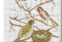 cross stitch - ptáci
