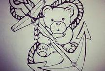 Teddy bear and anchor tattoo