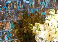 Boulder Turquoise Tile / The Boulder Turquoise tile is handcrafted using the turquoise which has been mined in a distinctive way and cut in a fashion to show the vein of turquoise in its natural host stone.  / by Gemstone Tile LLC