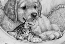 Een schattige puppy met kitten