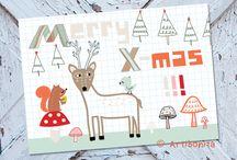 christmas / new year / reindeer christmas deer xmas new year greeting cards fox mushrooms noel bonne année kerstmis nieuwjaar wenskaarten