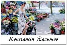 ⊱ Konstantin Razumov ⊰   / ≻  Konstantin Razumov ~ Moscow, 1974 ≺ A young and talented artist, he has painted all kinds of subjects, from nudes to landscapes. His bright colours, the smoothness of the skin in his nudes, the expressive features of his characters, distinguish his paintings. Faithful to early Impressionism, he nonetheless adds some modern touches which are most obvious in his beautiful charming nudes, soft and sensuous. Razumov is at his graceful best when his subjects are young ladies.
