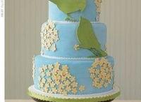 green ans aqua wedding cakes