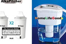 AlkaPitcher Water Alkalizing Pitcher from HomeLifeGoods.com...Compatible with + IMPROVES BRITA!! / The AlkaPitcher is the perfect way for the budget minded or restrained to finally START producing alkaline and ionized water!  AlkaPitcher replacement filters (sold separately in packs of 2, 3, 4 or 6...for coverage from 4 months up to a 1 whole year!!) are also COMPATIBLE with most BRITA pitchers and dispensers!  Not only will you produce MORE alkaline and ionized water...you will find that your AlkaPitcher (filtered) water TASTES far better than BRITA! * FREE Delivery to USA and Canada ONLY! *