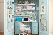 Closet office ideas ;) / by Kelly Goebel