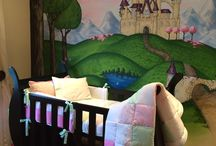 Mila's bedroom / Baby girl bedroom. Princess theme. Pink, green and white.