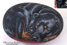 Dogs-painted rocks