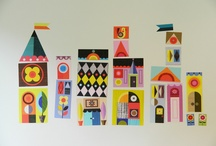 Wall decal / Cut and assemble houses decal