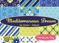 Mediterranean Dream / Where the sea and sky meet! Designers, Simon & Kabuki, inspired by the surroundings of Italy and Greece, created a beautiful collection combining florals and geometrics! Tile is a strong trend in home apparel and accessories. The color palette for this collection is right-on trend and can be seen everywhere! This collection has a multitude of uses from bed quilts, to home decor, kitchen and outdoor accessories.