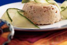 Menu voor 5 juli 2014 / Menu - Vooraf tilapiapaté met gerookte forel, Hoofd: Pollo al Marsala, gebakken aardappeltjes met rozemarijn en knoflook, Courgettesalade met broccolipesto, Dessert: Roomijs met frambozen