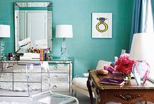 Mood board - Living Room / shades of blue and pink / by Sara Berrenson