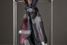 """""""LINES"""" Silk Ponge Scarves - F/W Collection / Handmade silk scarves made with Nuno Felting Technique"""