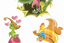 Dinosaurios infantiles para The Novelty Book Company Inc. / Viñetas humoristicas de diosaurios.