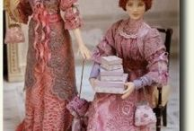 "People in Miniature (dollhouse dolls) / Sculpted or porcelain dressed & wigged miniature human figures - too perfect to be called ""dolls""... Also some tutorials, if available"