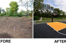 Before and After Custom Courts / Before and After custom basketball courts and custom Tennis Courts