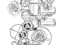 steampunk tattoo / So i have a pocketwatch tattoo with flowers on my upper arm, but i want to make it more steampunk...