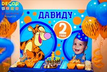 Party Tigger.Decor kids. / Birthday of David 2 years. Style thruline-tangerine!