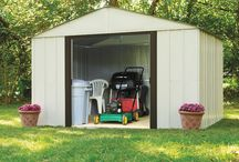 Arrow Arlington Steel Storage Sheds / A High gable roof, dual sliding doors, and appealing two tone aesthetics in Eggshell and Coffee make the Arlington Series Sheds a best buy for outdoor storage.  The Arlington backyard shed come in two sizes 10' x 8' & 10' x 12'