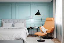 Chaiky / Квартира в современном стиле. Спальня с голубыми стенами. Детская с яркими акцентами. Гостинная с окнами в потолке. Детский яркий санузел с рисунком.