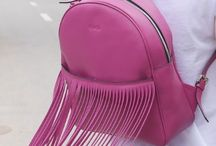 Fuchsia backpack / Leather fuchsia fringe backpack