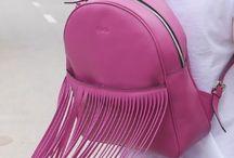 Fuchsia backpack / Leather fuchsia fringe backpack