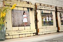 pallet pic frames and old window frames