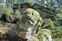 Les rochers magiques du Taennchel (Haut-Rhin) / Le Massif du Taennchel, non loin de Ribeauvillé, est un des lieux les plus magiques du Haut-Rhin. Les géants, les titans et les fées semblent être venus jouer avec les rochers qui prennent des formes étranges.