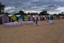 Brighton Beach Bathing Baxes / Wedding Ceremony with chair Sashes