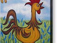mosaic inspiration chickens